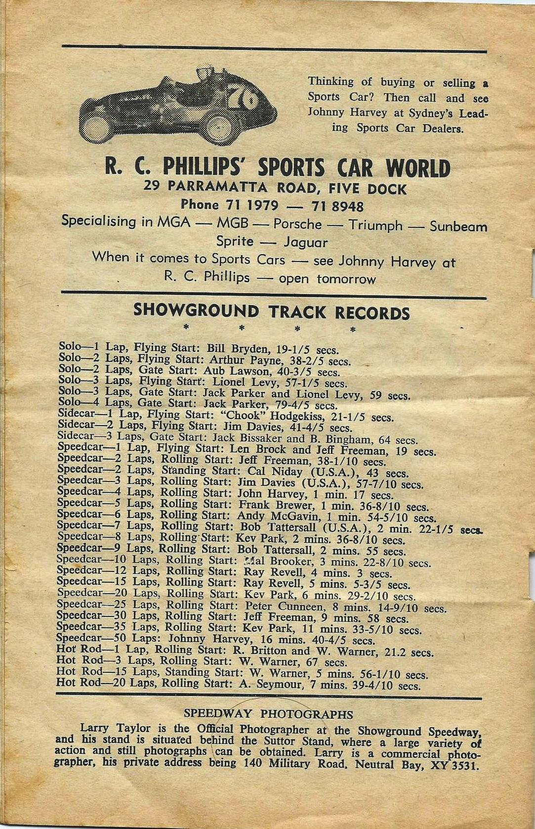 Track records Sydney Showground Speedway Jan , 23 1965