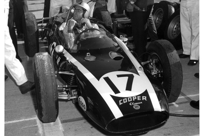 Brabham and the Copper Climax in the pits at Indy 1961
