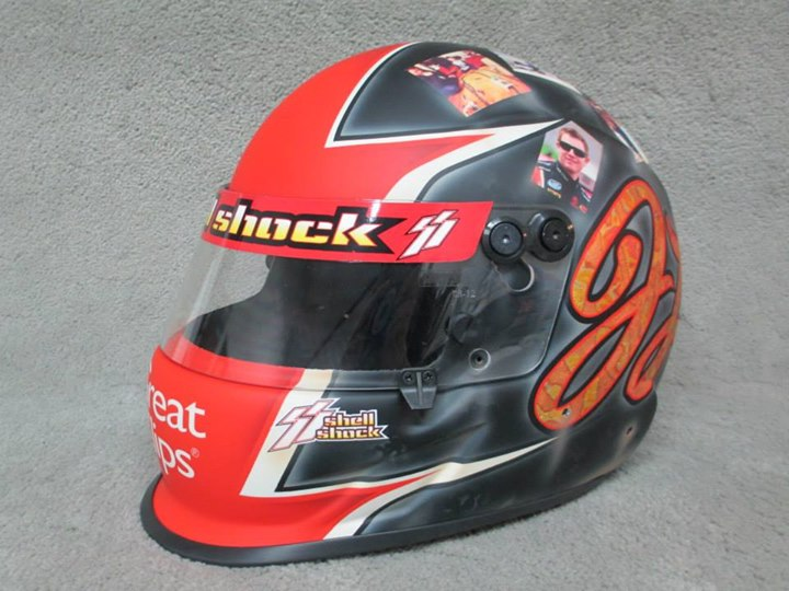 one of the Danny Stratton Jason Leffler tribute helmets