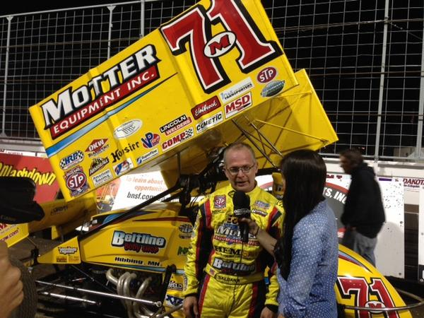 Joey Saldana at the post race interview at Nodak Pic - Motter