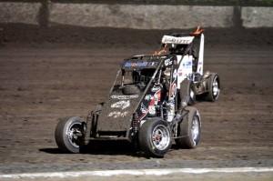 Kaiden Manders and Brock hallet racing during round 1 at Perth Motorplex