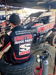 Bryan Clauson and his United Truck Parts #39  car quite time before the big races in NZ Credit Bryan Clauson Racing