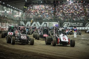 Jerry CoonsJr and Bryan Clauson lead the field to the gree Pic-Teejay Crawford