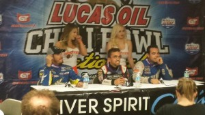 Windom Abreu Yeley at post race interview Photo- Chili Bowl Nationals