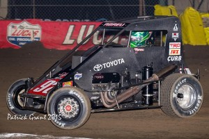 Abreu on hi s way to winning night two at the Chili Bowl Credit Buck Monson