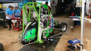 Tyler Thomas racecar in the pits