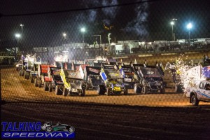 The start of the A main  4 wide salute