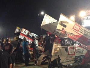Schatz and Stewart side by side in the pits and together on the fron row at Devils Bowl, WoO Pic