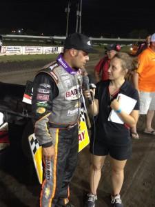 Schatz talks after his win number 16 at Dakota State Fair Speedway