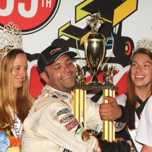 Schatz with his Knoxville trophy Pic credit Tony Stewart racing
